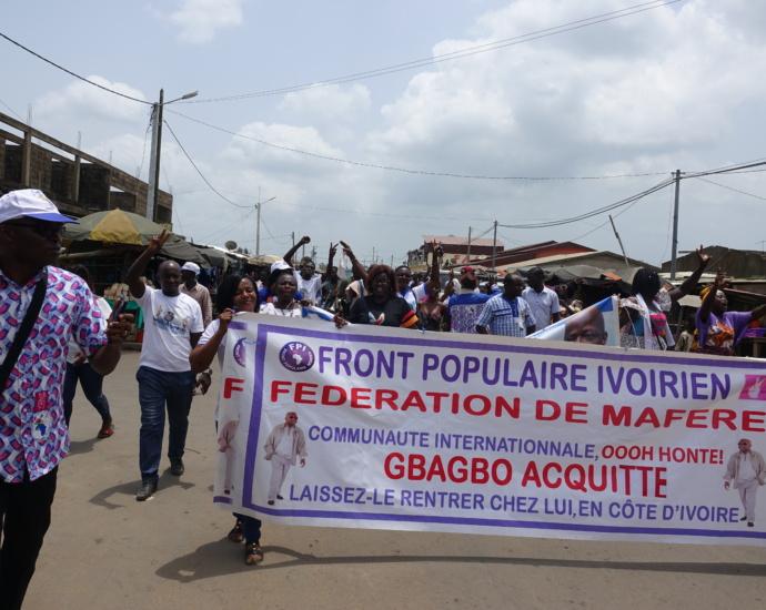 Les militants du FPI fêtent la libération de Laurent Gbagbo à Maféré